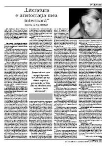 interviu cu Rita Chirian